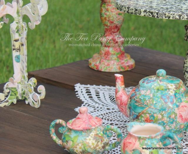 decoupaged tea pot,candelabra,cake stands,