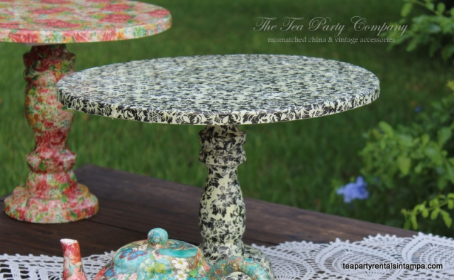 cake stands decoupaged white and black scroll
