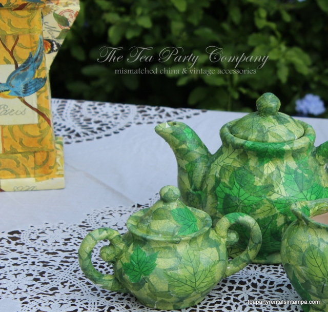 decoupage tea pots,lace overlay