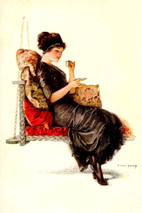 Image victorian lady drinking a cup of tea