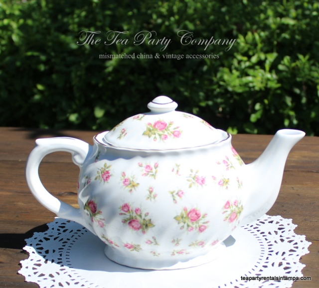 vintage teapot fine bone china white,pink rose buds and green leaves