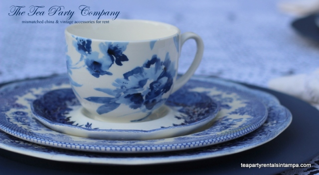 teacup, saucer,salad plate,dinner plate,mismatched china blue patterns,blue charger