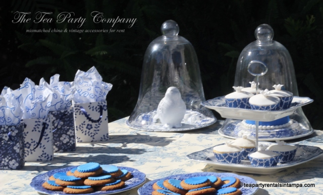 Candy bufette  blue theme glass cloche display, 2 tiered plate blue cupcake liners