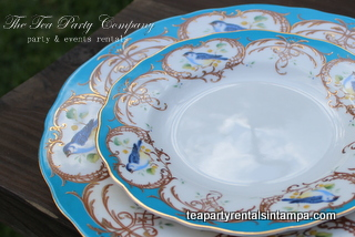 Ocean Blue Birds Motif China Tea Party Company