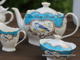 Ocean Blue Birds Motif Teapot, Creamer and Sugar Bowl Tea Party Company