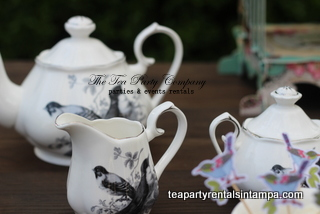 White and Black Birds Motif Teapot,creamer and sugar bowl   Tea Party Collection