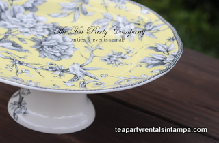 White and Yellow Bird Motif Cake Stand Close Up Tea Party Company