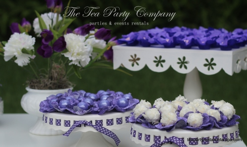 White Wood Candy Table Purple & Lavender Theme