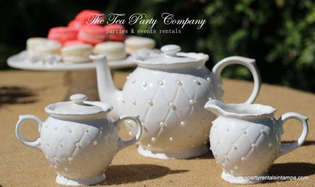 Pearl Tea Set with Matching Teacup & Saucer