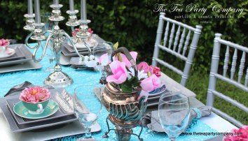 The Tea Party Company Silver & Teal Bridal Shower