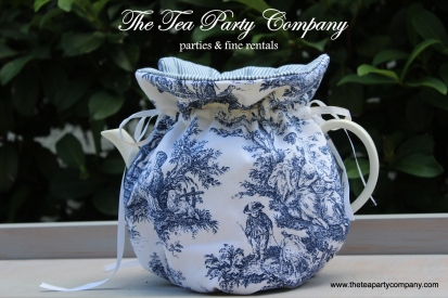 blue toile cozy teapot cover