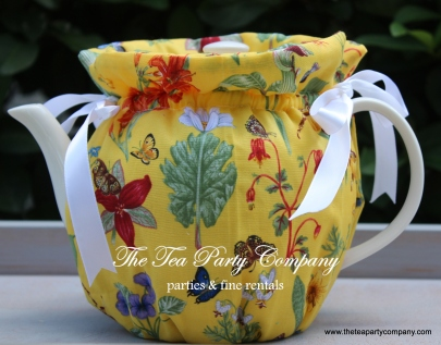 Flora lyellow fabric butterflies cozy teaspot cover